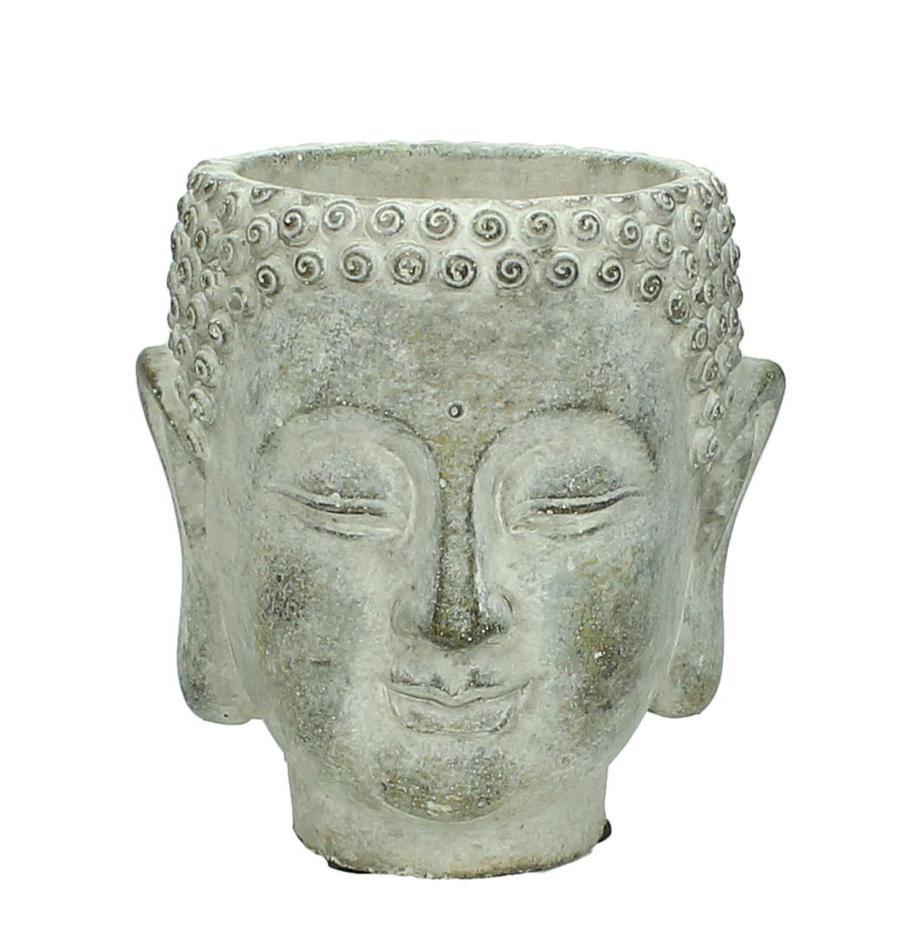 Plantenpot Head van beton, Beton, Grijs, crèmewit, 13 x 14 cm