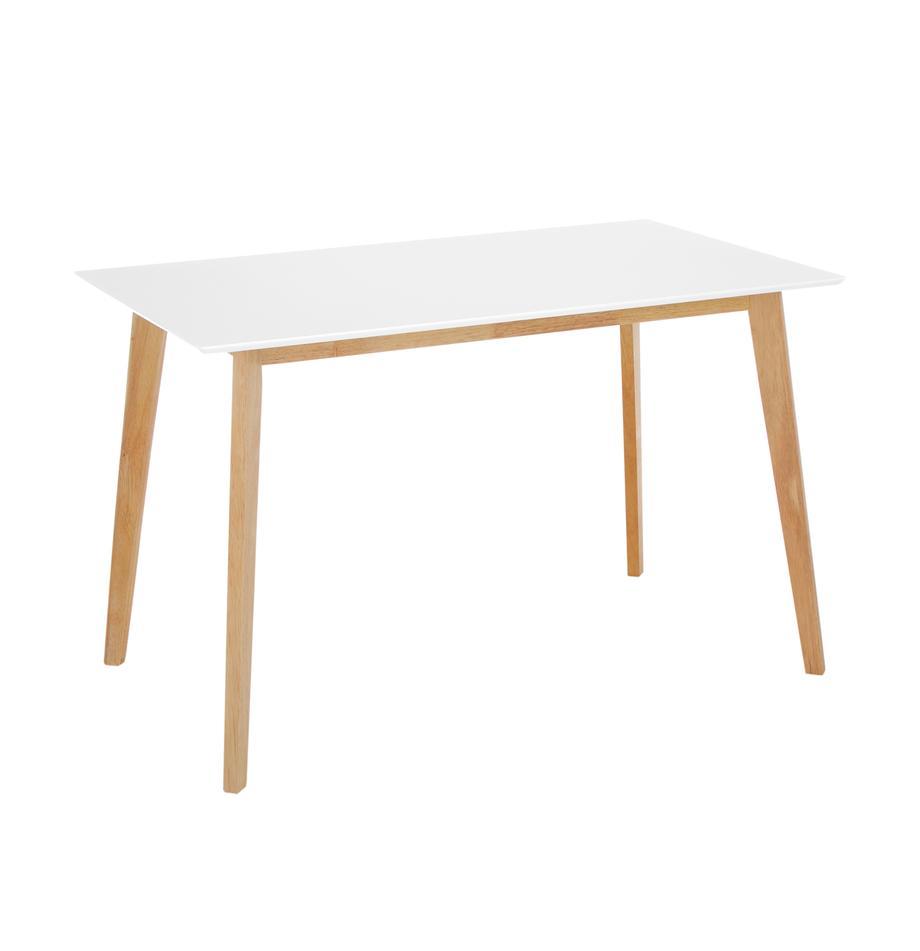 Eettafel Vojens, Tafelblad: MDF, Poten: rubberhout, Wit, bruin, B 120 x D 70 cm
