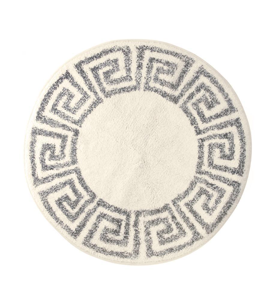 Tappeto bagno rotondo antiscivolo Greek, Retro: silicone, Crema, grigio, Ø 120 cm