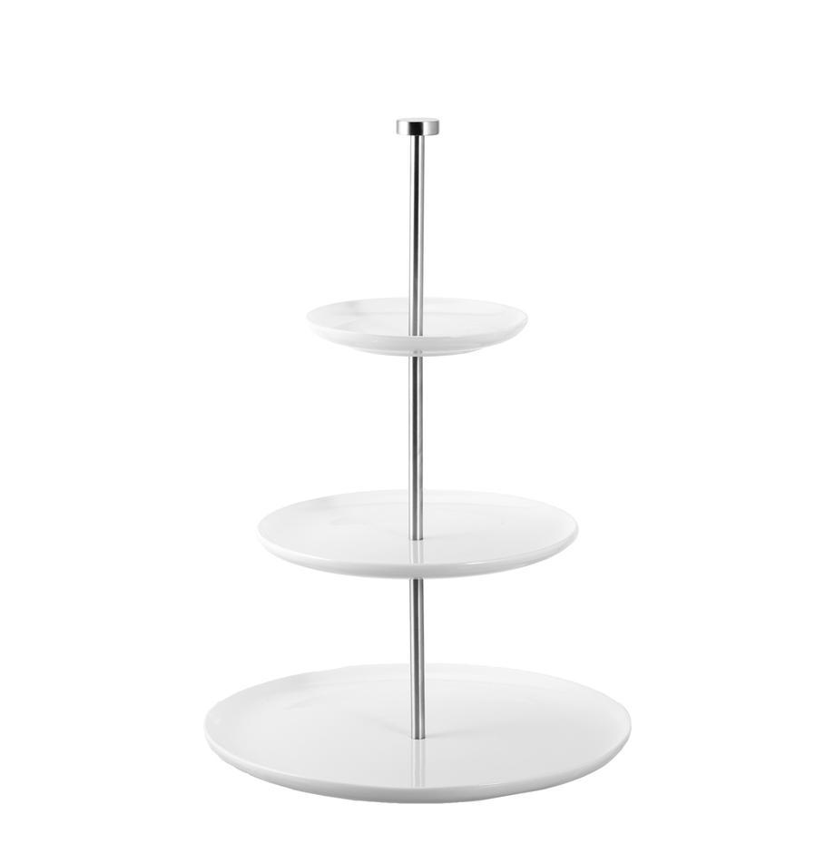 Fuente 3 pisos de cerámica Karo, Cerámica, metal, Blanco, Ø 30 x Al 47 cm