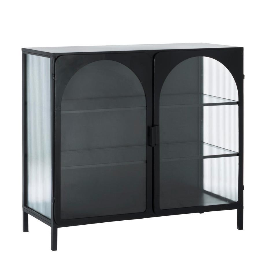 Vitrina de vidrio Nerissa, Estructura: metal epoxidado y con pin, Negro, transparente, An 111 x Al 99 cm