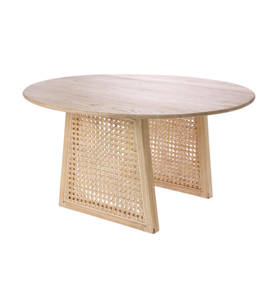 Ronde salontafel Retro met Weens vlechtwerk, Sunkai-houtkleurig, Ø 65 x H 35 cm