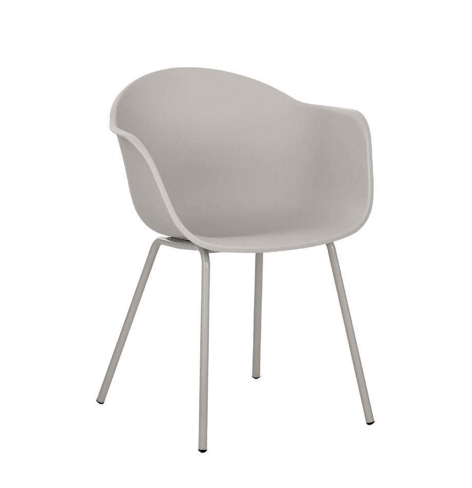 Kunststoff-Armlehnstuhl Claire mit Metallbeinen, Sitzschale: Kunststoff, Beine: Metall, pulverbeschichtet, Beigegrau, B 54 x T 60 cm