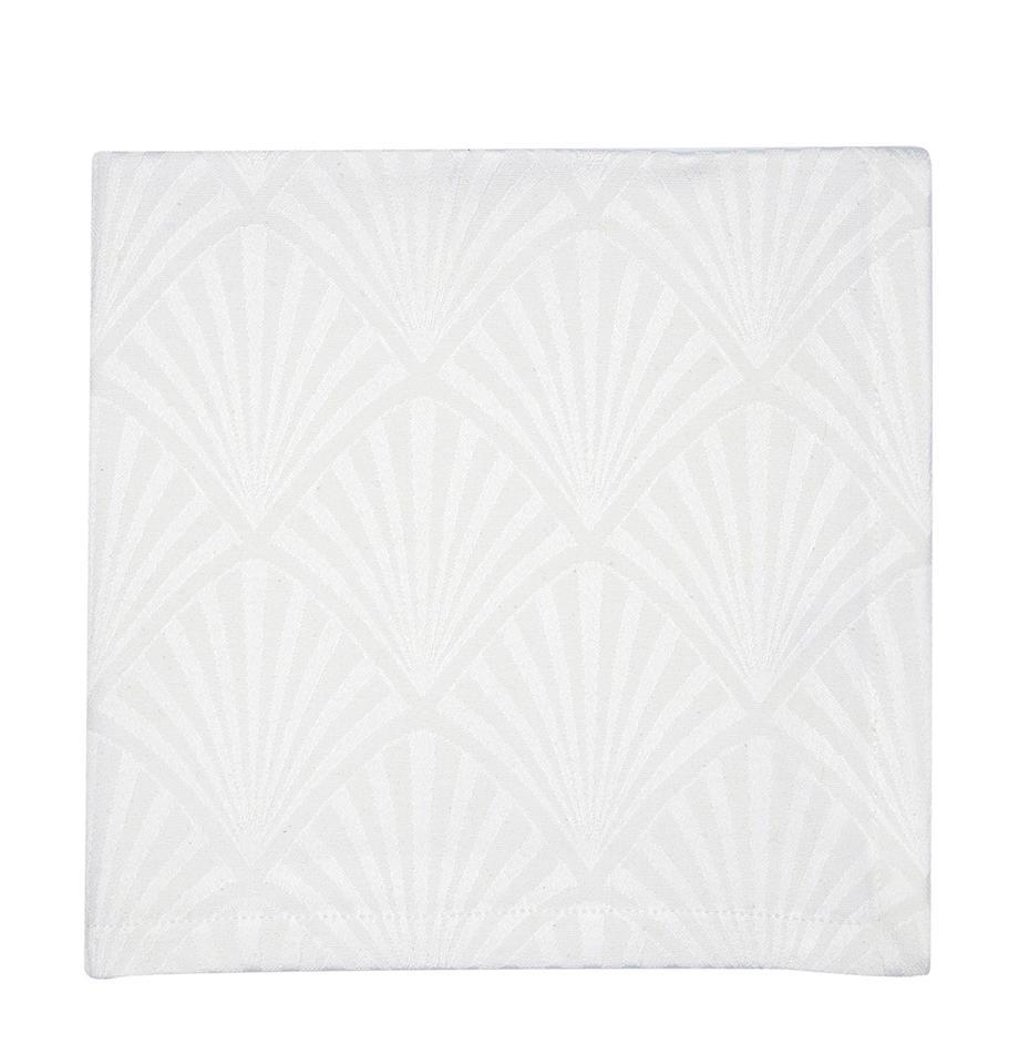 Stoff-Servietten Celine mit Art Deco Muster, 4 Stück, Webart: Jacquard, Weiß, 40 x 40 cm