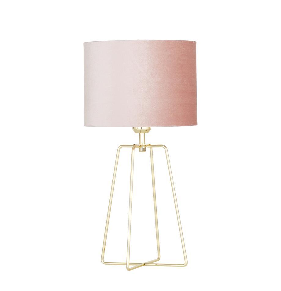 Fluwelen tafellamp Karolina met goudkleurige lampvoet, Lampenkap: fluweel, Lampvoet: vermessingd metaal, Lampenkap: oudroze. Lampvoet: glanzend messingkleurig. Snoer: transparant, Ø 25 x H 49 cm