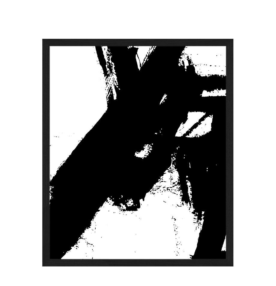 Ingelijste digitale print Franz Kline V1, Afbeelding: digitale print op papier,, Lijst: gelakt hout, Zwart, wit, 53 x 63 cm