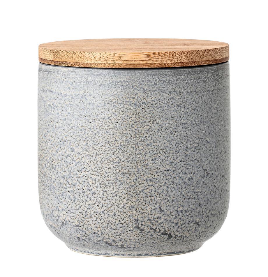 Handgemachte Aufbewahrungsdose Kendra, Deckel: Bambus, Silikon, Grau, Beigetöne, Ø 13 x H 13 cm