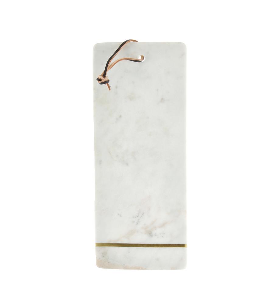 Tabla de cortar de mármol Strip, Cordón: cuero, Blanco, dorado, An 15 x L 37 cm