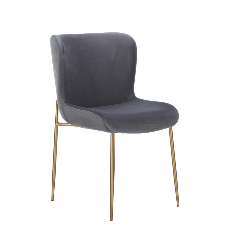 Samt-Polsterstuhl Tess , Bezug: Samt (Polyester) Der hoch, Beine: Metall, beschichtet, Samt Anthrazit, Beine Gold, B 49 x T 64 cm