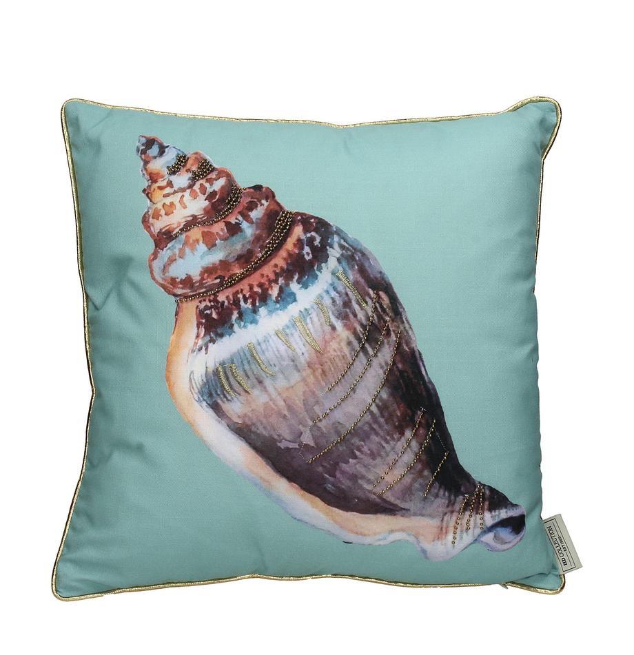 Zewnętrzna poduszka z wypełnieniem Shell, Turkusowy, wielobarwny, S 45 x D 45 cm