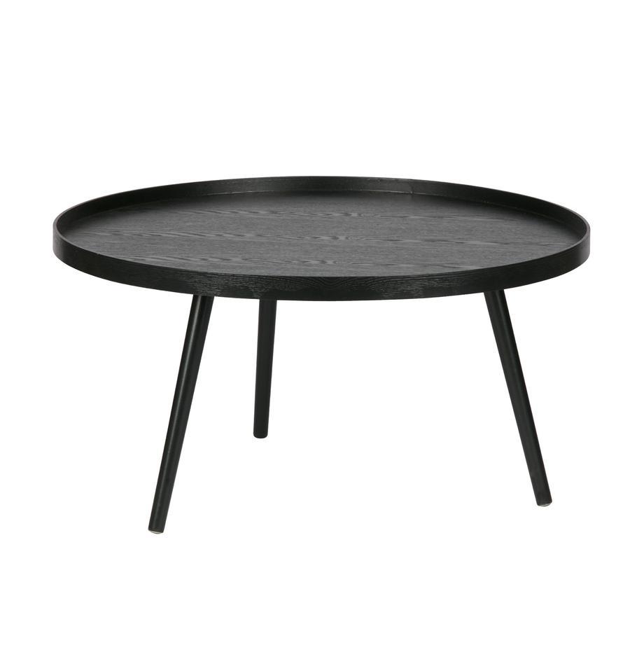 Okrągły stolik kawowy z drewna Mesa, Płyta pilśniowa średniej gęstości (MDF) z fornirem sosnowym, lakierowana, Czarny, Ø 78 cm