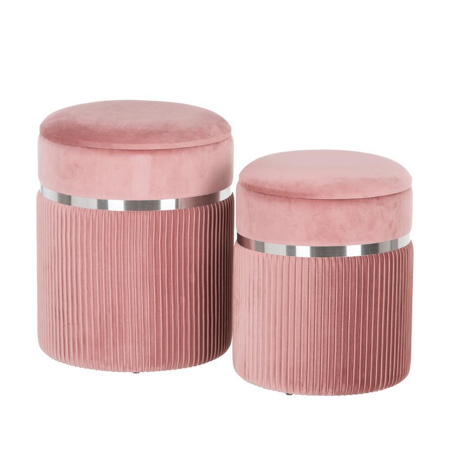Set 2 pouf contenitori in velluto Chest, Rivestimento: poliestere (velluto), Sottostruttura: legno, Rosa, argentato, Set in varie misure