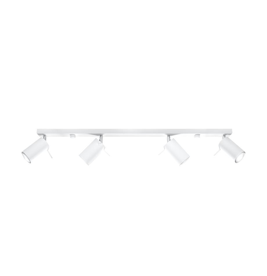 Plafondspot Etna in wit, Gelakt staal, Wit, 81 x 16 cm