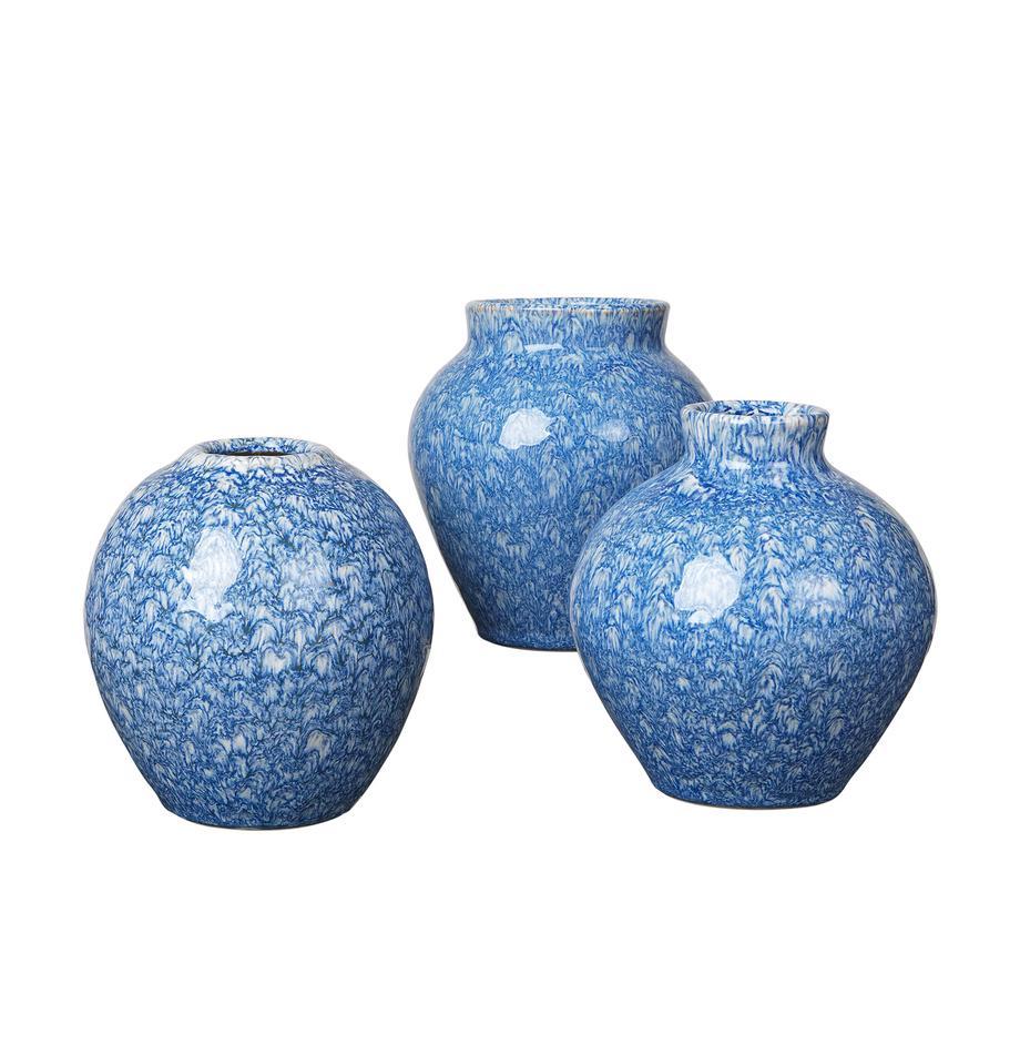 Vasen-Set Ingrid aus Keramik, 3-tlg., Keramik, Blautöne, Ø 14 x H 15 cm