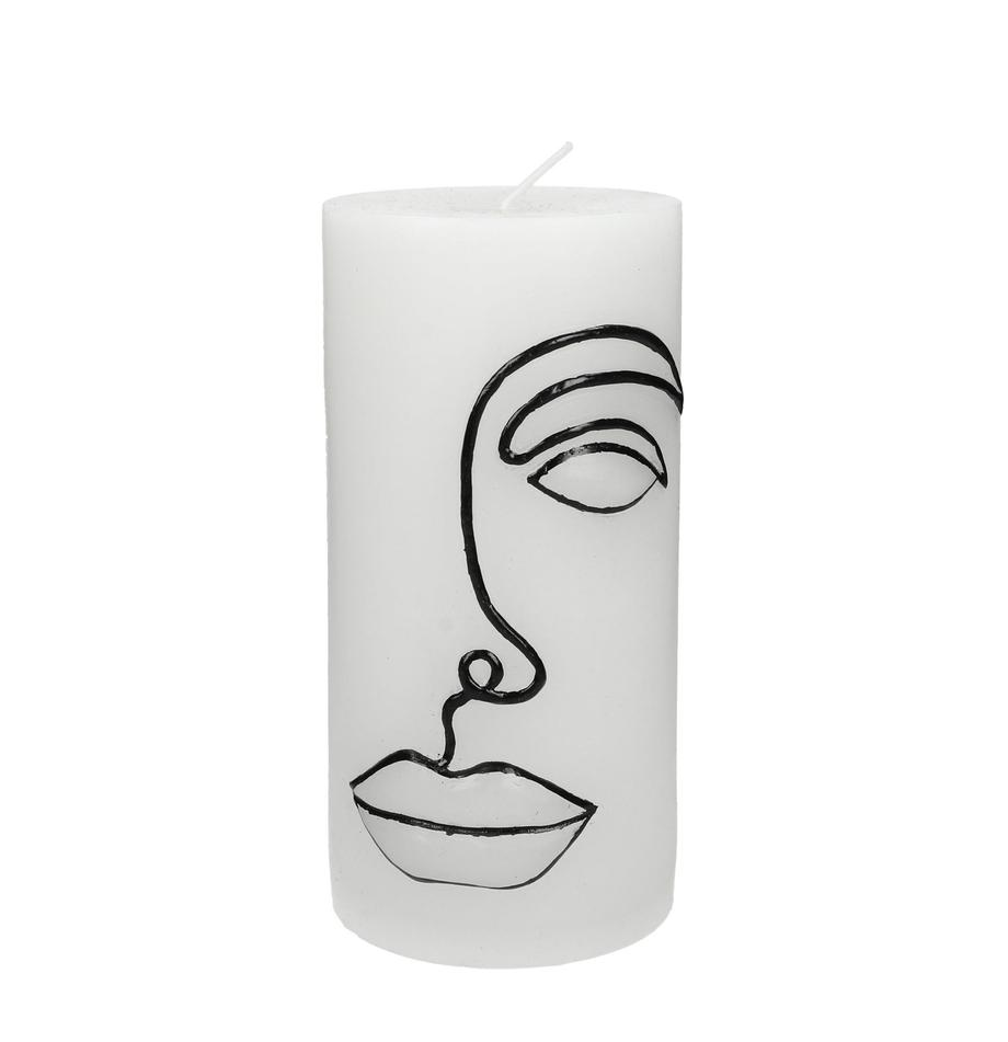 Stumpenkerze Face, Wachs, Weiß, Schwarz, Ø 7 x H 15 cm