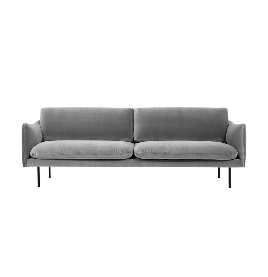 Samt-Sofa Moby (3-Sitzer) in Grau mit Metall-Füssen, Bezug: Samt (Hochwertiger Polyes, Gestell: Massives Kiefernholz, Samt Grau, B 220 x T 95 cm