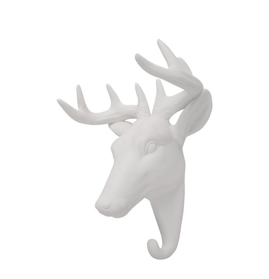 Wandhaken Deer aus Porzellan, Porzellan, Weiss, H 16 cm