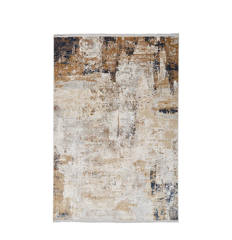 Vloerkleed Verona met abstract patroon, Bovenzijde: viscose, acryl, Onderzijde: polyester, Crèmekleurig, beige, grijs, bruin, donkerblauw, B 80 x L 150 cm (maat XS)