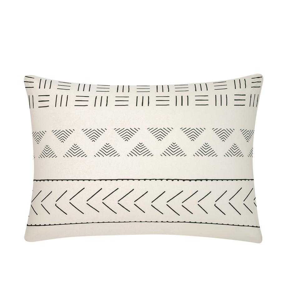 Funda de almohada de algodón Kohana, estilo boho, Crudo, negro, An 50 x L 70 cm