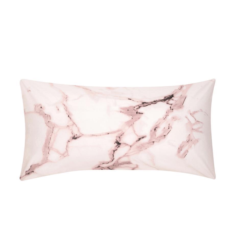 Poszewka na poduszkę z perkalu Malin, 2 szt., Przód: wzór marmurowy, blady różowy Tył: blady różowy, gładki, S 40 x D 80 cm