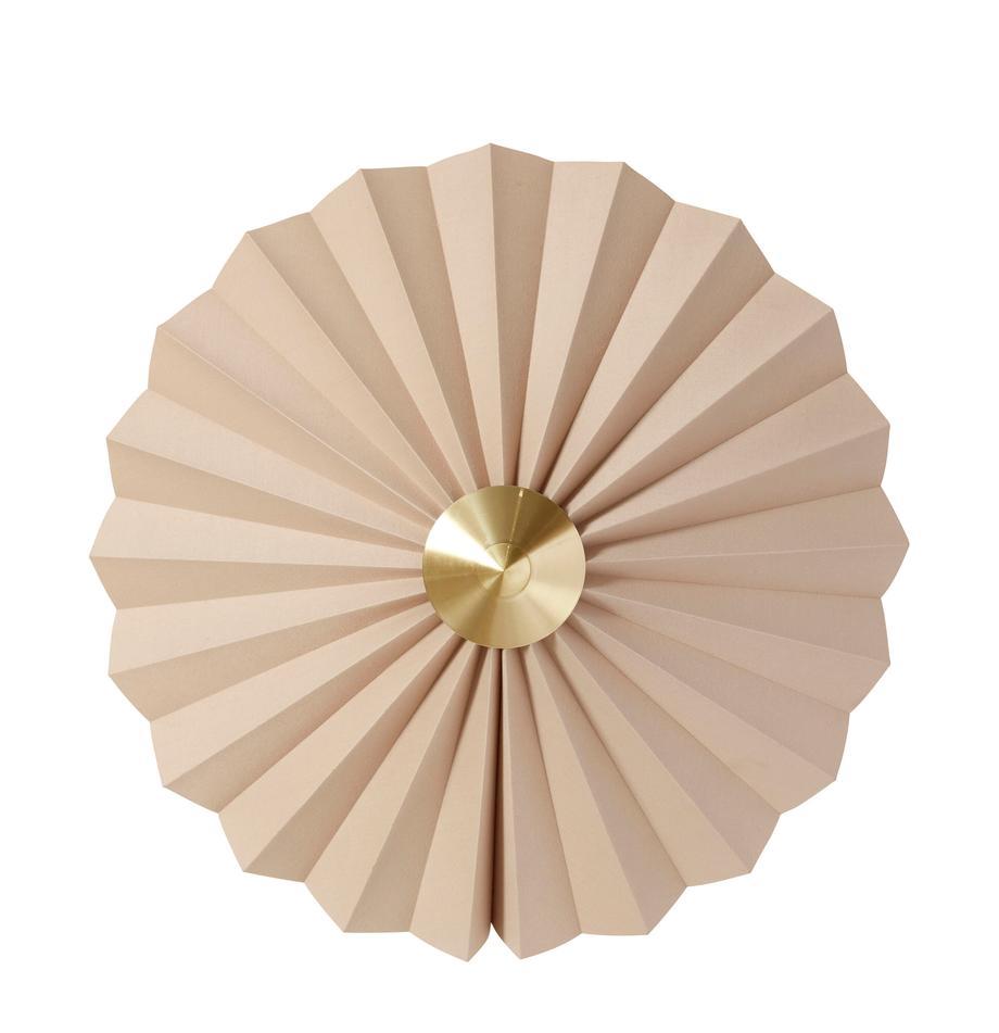 Aplique de papel Tenty, con enchufe, Pantalla: papel, Cable: plástico, Beige, latón, Ø 48 cm