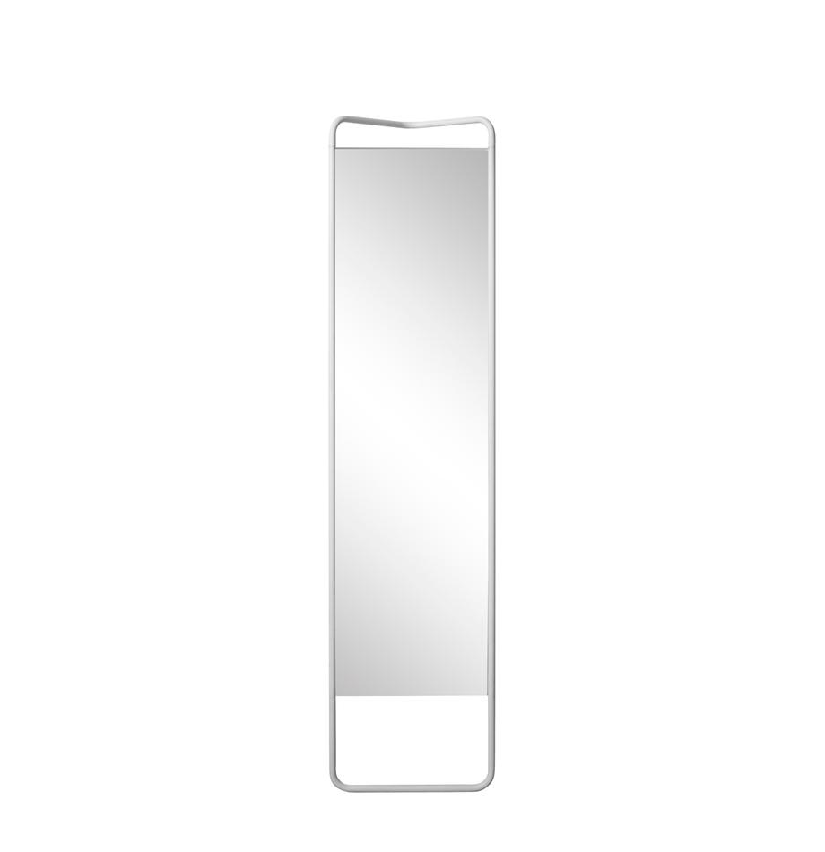 Specchio da terra con cornice bianca Kasch, Cornice: alluminio verniciato a po, Superficie dello specchio: lastra di vetro, Bianco, Larg. 42 x Alt. 175 cm