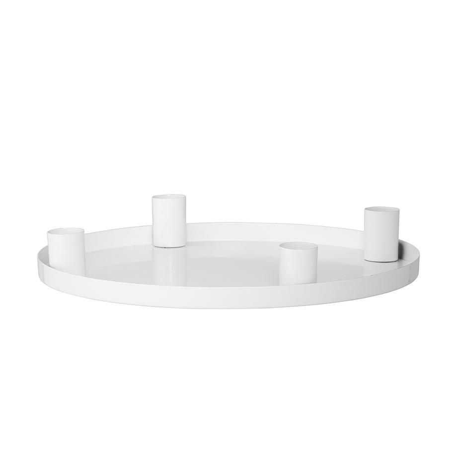 Candelabro Advent, Metal, recubierto, Blanco, Ø 25 x Al 4 cm