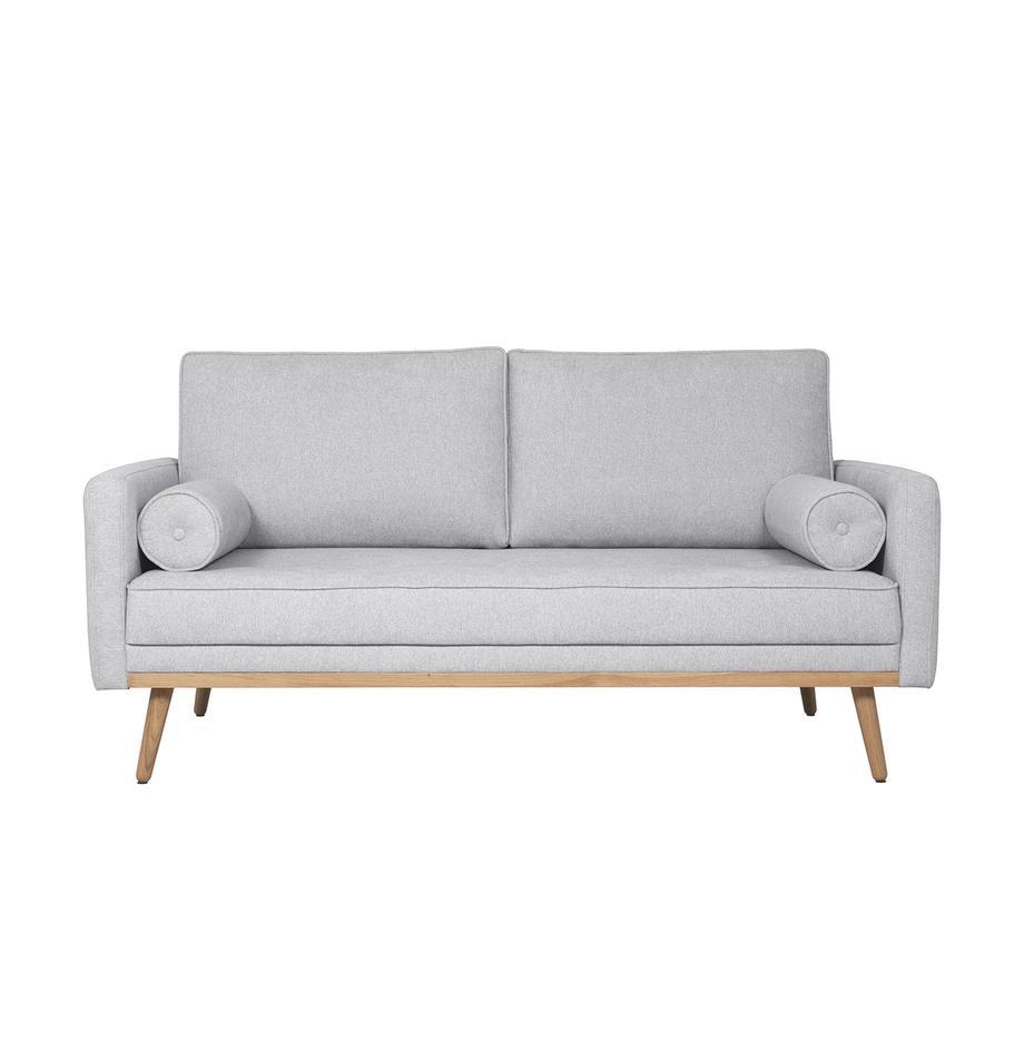 Sofa Saint (2-Sitzer) in Hellgrau mit Eichenholz-Füßen, Bezug: Polyester Der hochwertige, Gestell: Massives Kiefernholz, Spa, Webstoff Hellgrau, B 169 x T 93 cm