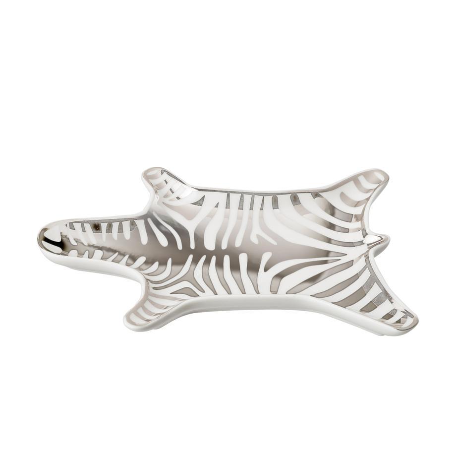Designer-Deko-Schale Zebra aus Porzellan, Porzellan, Weiß,Silber, B 15 x T 11 cm