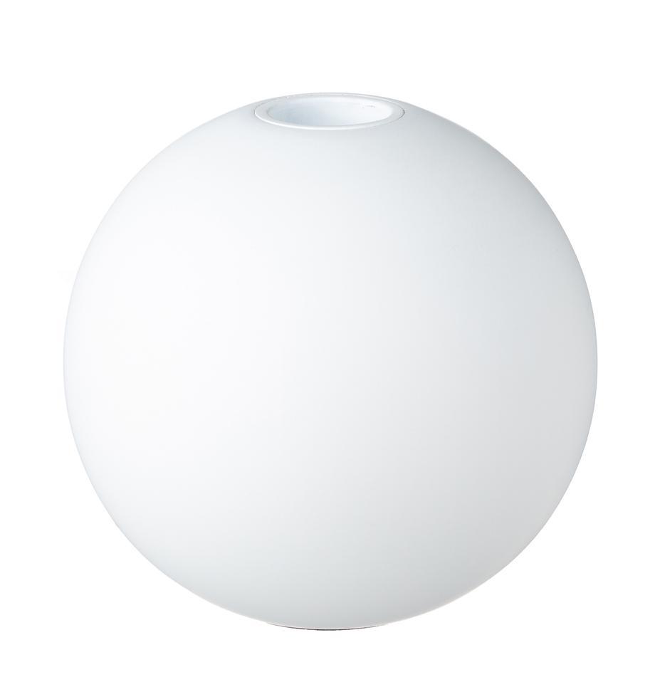 Ręcznie wykonany świecznik Ball, Drewno naturalne, Biały, matowy, Ø 10 x W 9 cm
