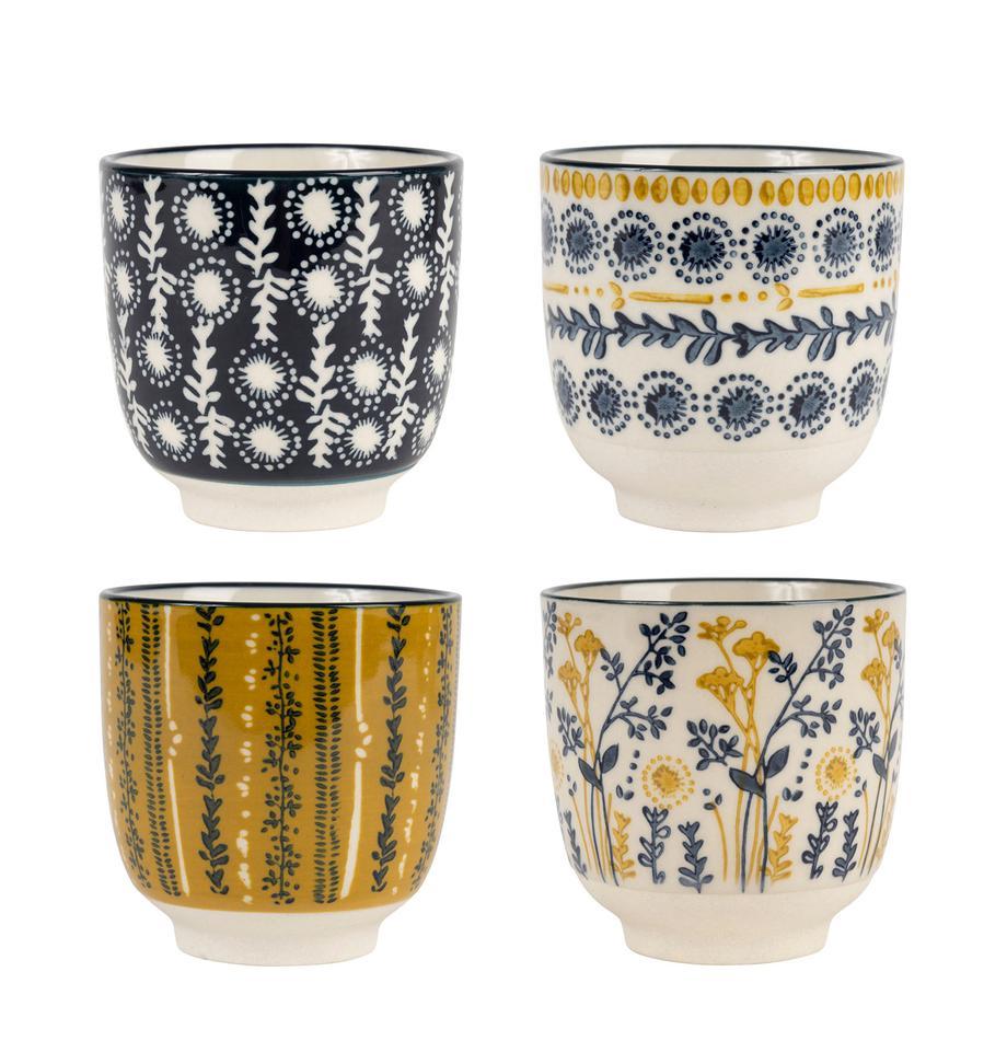 Set 4 tazze a fantasia Veg-Girly, Terracotta, Blu scuro, bianco, giallo senape, Ø 8 x Alt. 8 cm