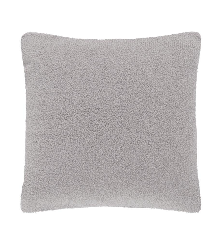 Flauschige Teddy-Kissenhülle Mille in Hellgrau, Vorderseite: 100% Polyester (Teddyfell, Rückseite: 100% Polyester (Teddyfell, Hellgrau, 45 x 45 cm