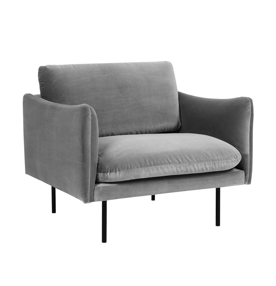 Fluwelen fauteuil Moby in grijs met metalen poten, Bekleding: geweven stof (polyester), Frame: massief grenenhout, Poten: gelakt metaal, Fluweel grijs, B 90 x D 90 cm