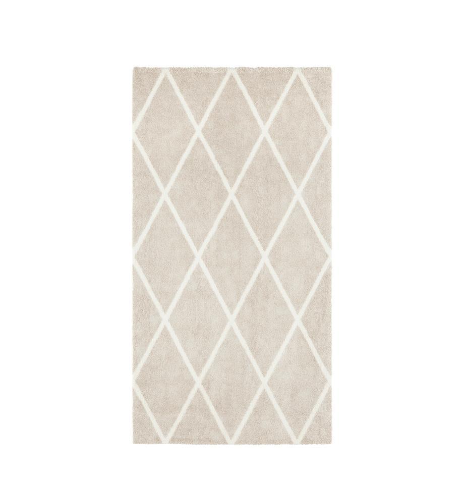 Dywan z wzorem w romby Lunel, Beżowy, odcienie kremowego, S 80 x D 150 cm (Rozmiar XS)