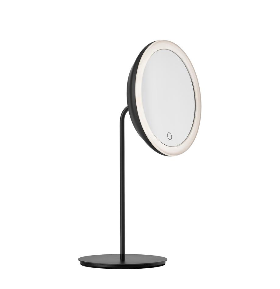 Kosmetikspiegel Maguna mit Vergrößerung, Metall, Schwarz, 18 x 34 cm