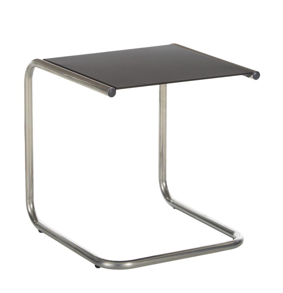 Outdoor bijzettafel Club van metaal, Tafelblad: gepoedercoat metaal, Frame: gepolijst aluminium, Zwart, aluminiumkleurig, B 40 x D 40 cm