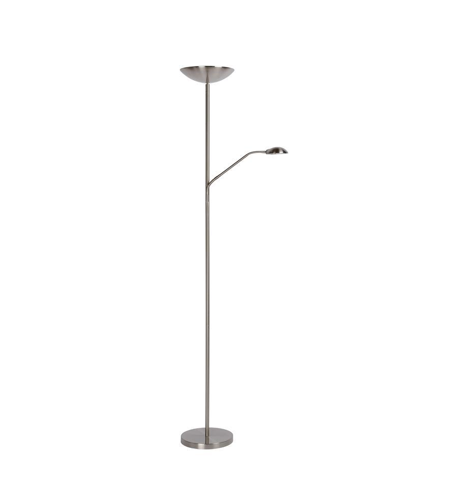 Dimmbarer LED-Deckenfluter Zenith mit Leselampe, Lampenschirm: Metall, Lampenfuß: Metall, Chrom, satiniert, Ø 25 x H 180 cm