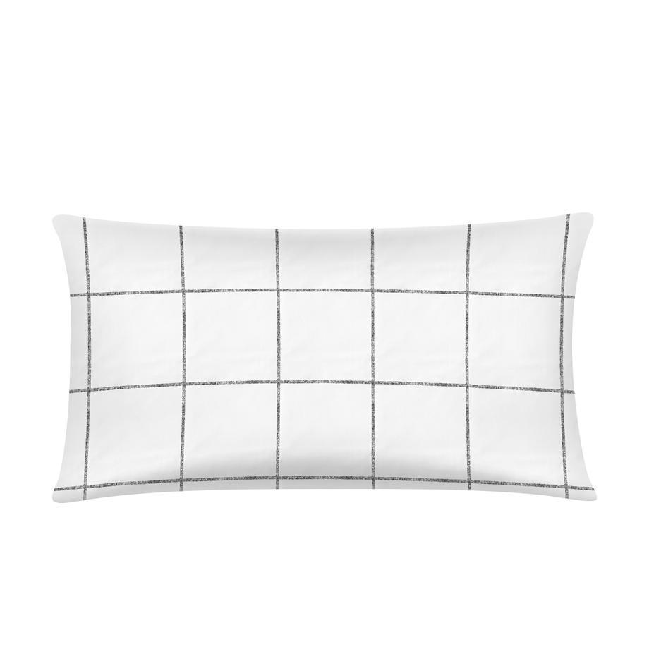 Funda de almohada de percal Juna, Blanco, negro, An 45 x L 85 cm