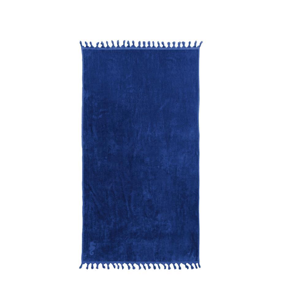 Telo fouta in cotone Lushie, Cotone Qualità del tessuto di peso medio, 355g/m², Blu scuro, Larg. 100 x Lung. 180 cm