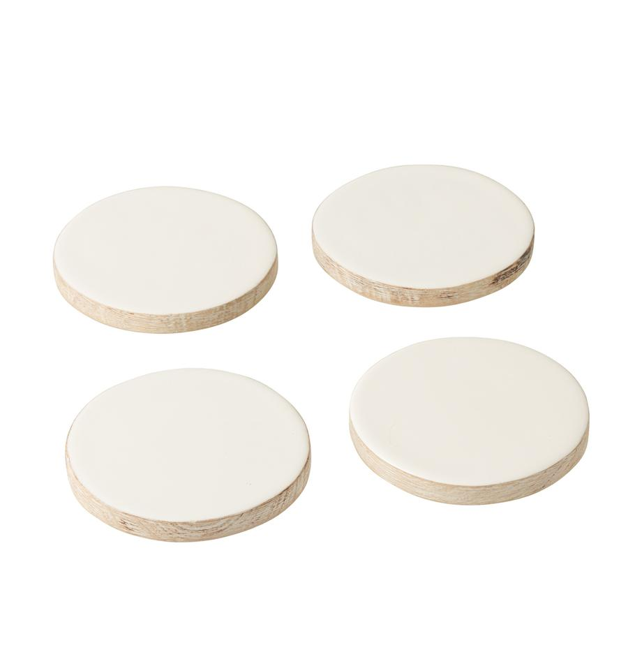 Set 4 sottobicchieri in legno di mango Lugo, Legno di mango rivestito, Bianco, legno di mango, Ø 10 x Alt. 2 cm