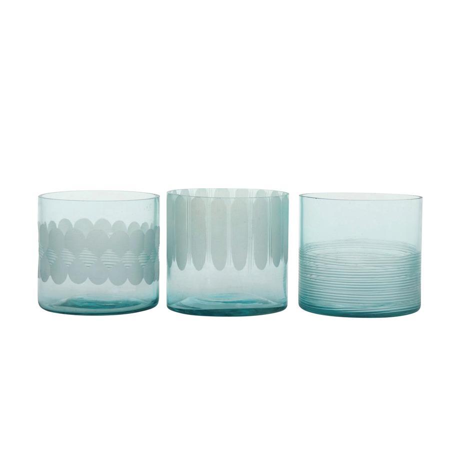 Komplet świeczników na podgrzewacze Cosmopol, 3 elem., Szkło, Niebieski, Ø 8 x W 8 cm