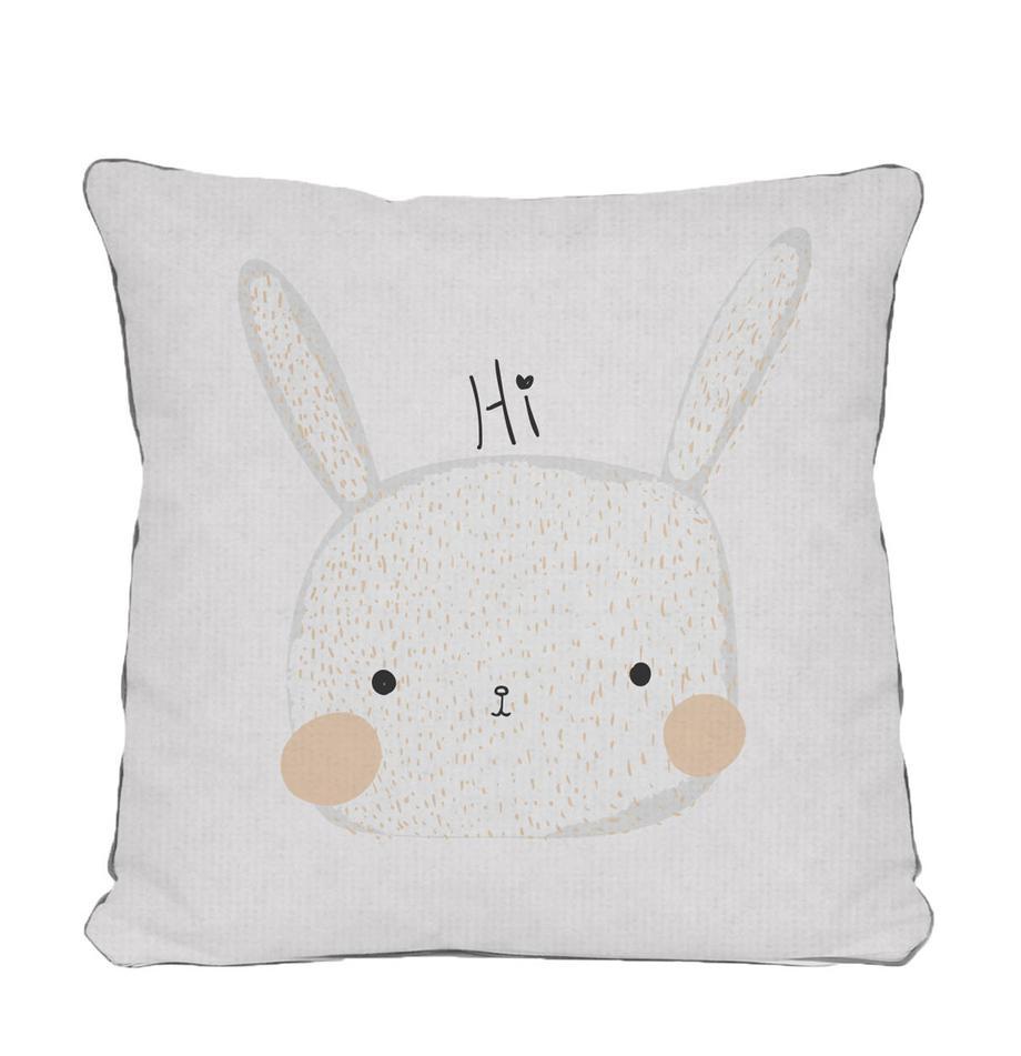 Kussenhoes Rabbit, Polyester, Wit, beige, grijs, zwart, 45 x 45 cm