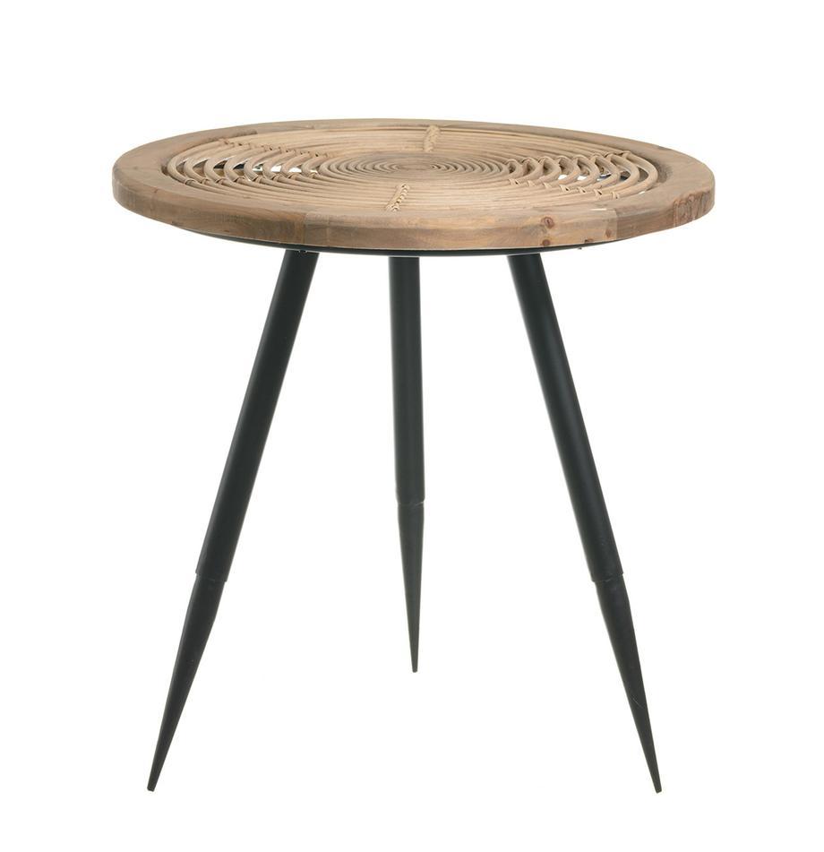 Mesa auxiliar Rinni, Tablero: fibra natural, madera, Patas: metal, Multicolor, Ø 49 x Al 49 cm