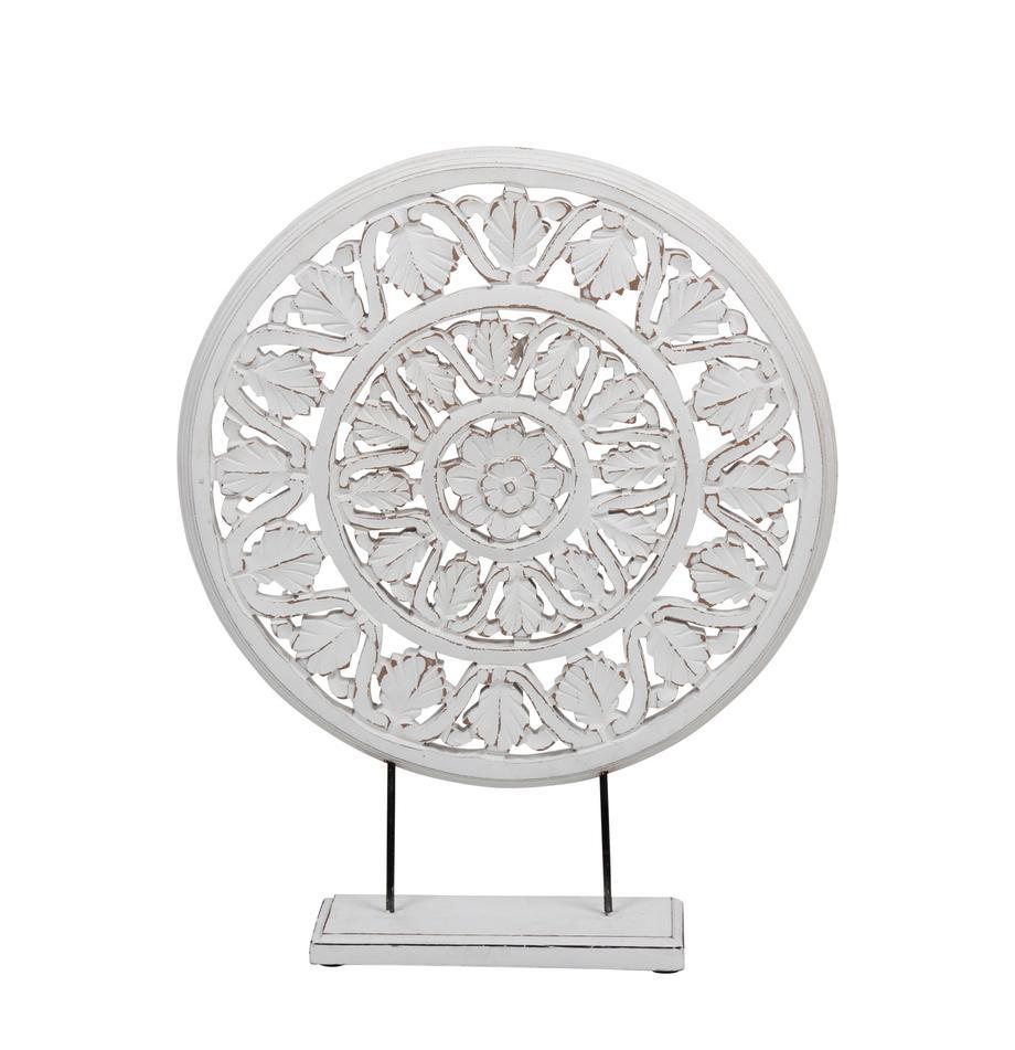 Deko-Objekt Brahma, Holz, Weiß, Antik-Finish, 40 x 50 cm