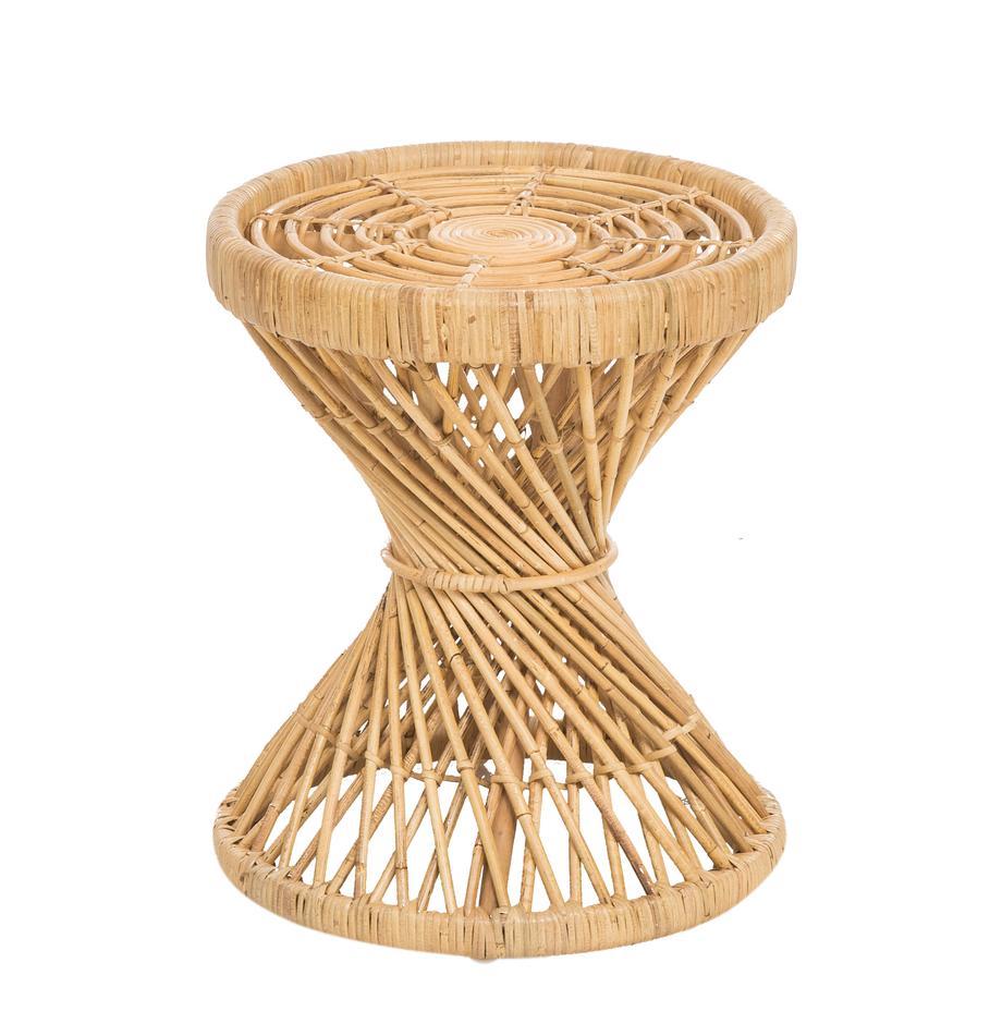 Stolik pomocniczy z rattanu boho Marvel, Rattan, naturalny, Rattan, naturalny, Ø 40 x 47 cm