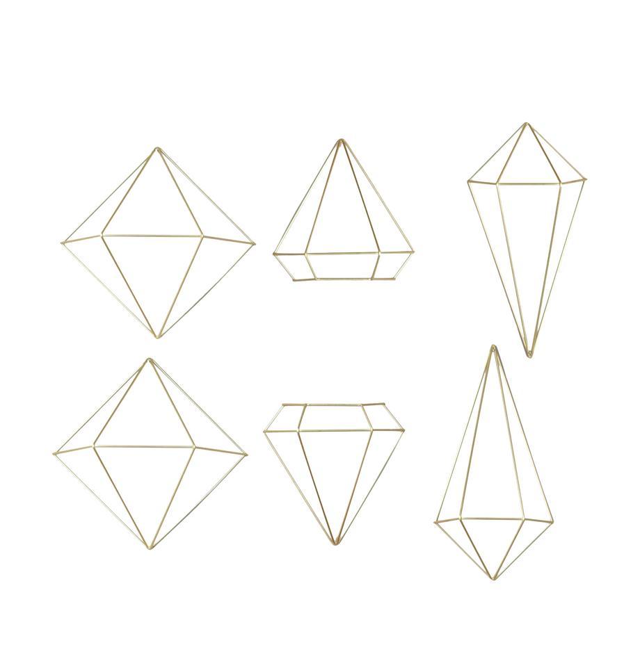 Set de decoraciones de pared Prisma, 6pzas., Metal pintado, Latón, Set de diferentes tamaños