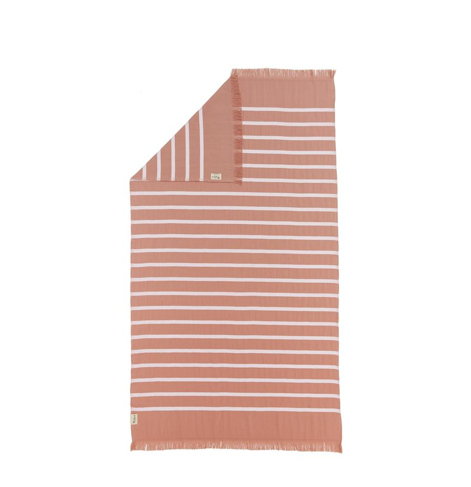 Gestreiftes Hamamtuch Filena, 100% Baumwolle, Terrakottarot, Weiss, 100 x 180 cm