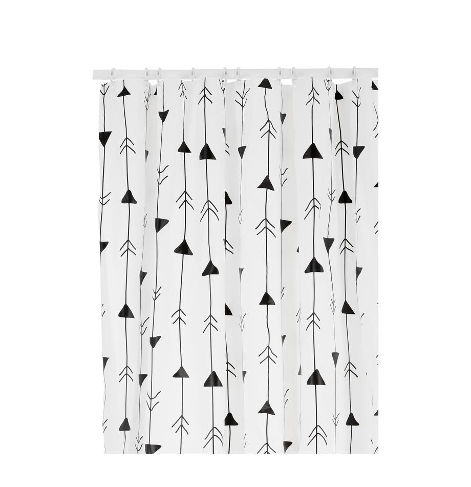 Gemusterter Duschvorhang Katie, Weiß, Schwarz, 180 x 200 cm