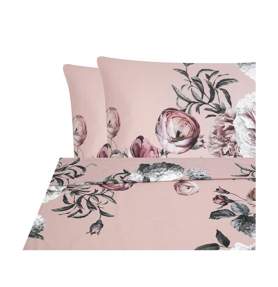 Parure letto in raso di cotone Blossom, Rosa, 240 x 300 cm + 2 cuscini 50 x 80 cm