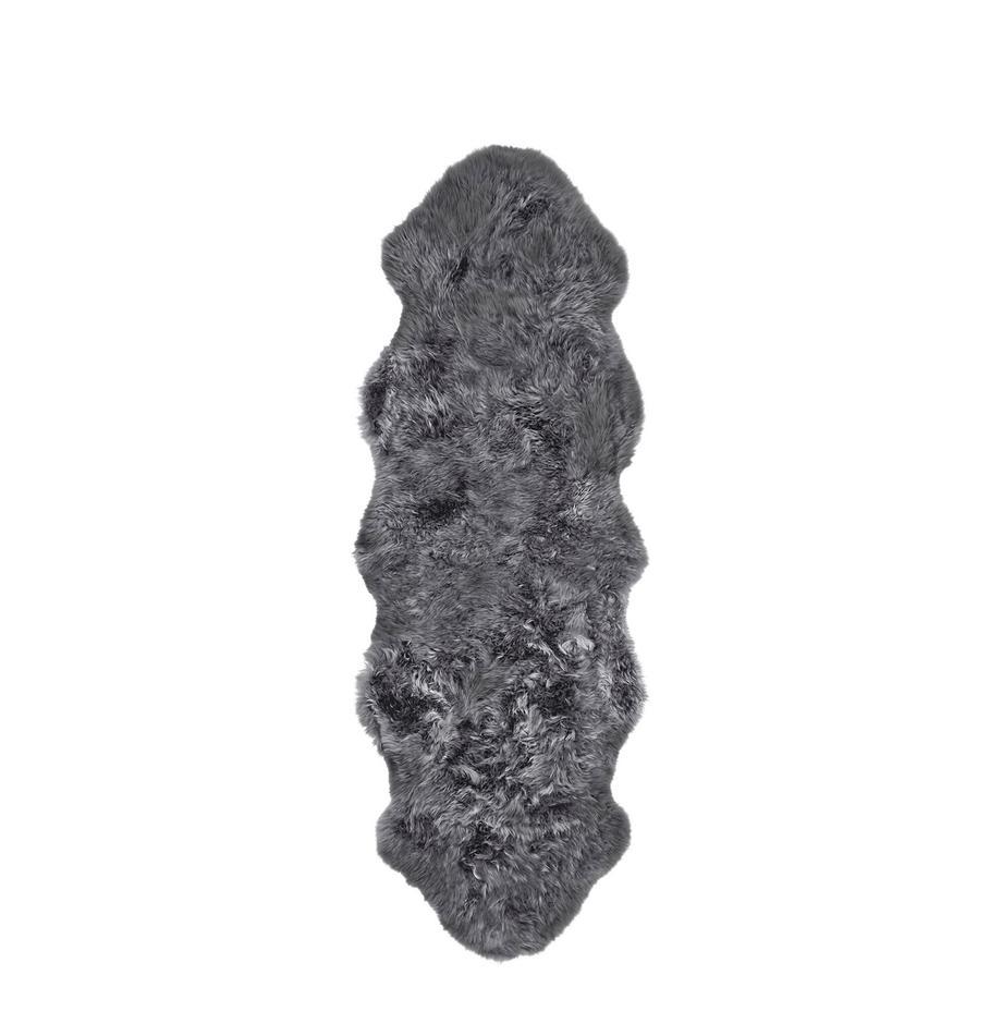 Alfombra de piel de oveja Oslo, Parte delantera: 100%piel de oveja, Parte trasera: 100%cuero cuertido, Gris oscuro, An 60 x L 180 cm